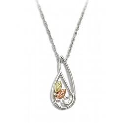 Landstrom's Black Hills Gold on Sterling Silver Freeform Pendant w Necklace