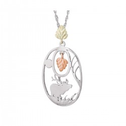 Mt. Rushmore Black Hills Gold on Sterling Silver Elk Pendant