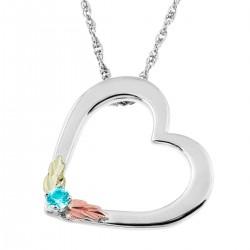 Landstrom's Black Hills Gold on Sterling Silver Heart Pendant w Aquamarine
