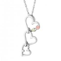 Landstrom's Black Hills Gold on Sterling Silver Triple Heart Pendant