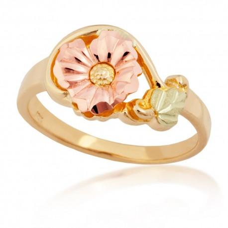10K Black Hills Gold Ladies Flower Ring