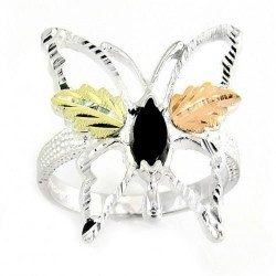 BLACK HILLS STERLING SILVER ONYX BUTTERFLY LADIES RING