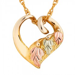 Mt Rushmore 10K Black Hills Gold Heart Pendant with 12K Leaves