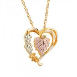 Mt. Rushmore 10K Black Hills Gold Diamond Cut Edge Heart Pendant