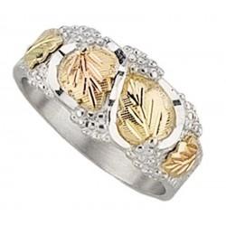 Black Hills Gold on Sterling Silver Men's Wedding Ring w 12k Gold Leaves