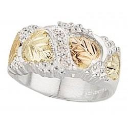 Black Hills Gold on Sterling Silver Men's Wedding Ring w CZ