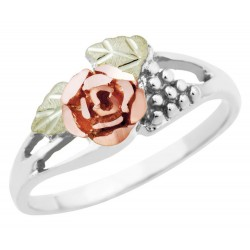 Mt. Rushmore Black Hills Gold on Sterling Silver Ladies Rose Ring