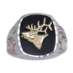 Mt. Rushmore Black Hills Gold on Sterling Silver Men's Ring with Deer