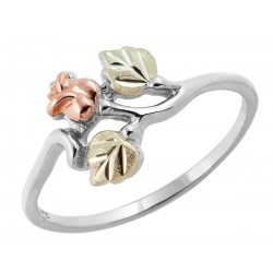 Black Hills Gold Sterling Silver Thin Rose Ring by Mt. Rushmore