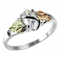 Mt. Rushmore Black Hills Gold on Sterling Silver CZ Ring