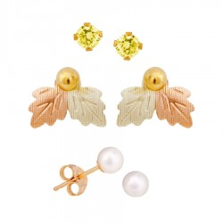 Mt. Rushmore Small 10K Yellow Gold Earrings Jacket Trio Set – Gold Topaz, Pearl, 10K Stud