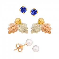 Mt. Rushmore Small 10K Yellow Gold Earrings Jacket Trio Set – Blue Spinel, Pearl, 10K Stud