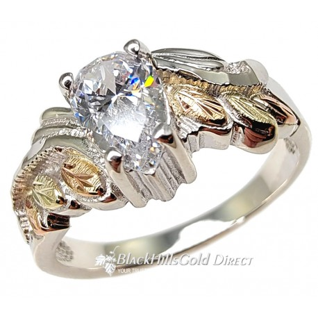 BLACK HILLS GOLD STERLING SILVER LADIES WHITE CUBIC ZIRCONIA RING