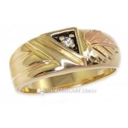 Landstrom's® 10K Black Hills Gold Mens Ring with .05CT Diamond