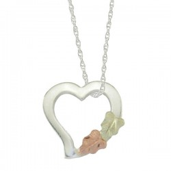 Small Black Hills Gold .925 Sterling Silver Heart Pendant Necklace