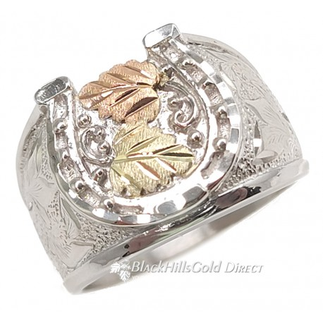 Black Hills Silver Men's Horseshoe Ring with 12k Gold Leaves