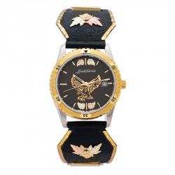 Landstrom's Black Hills Gold Men's Black Dial Eagle Watch