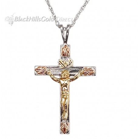 Black Hills Gold on Sterling Silver Crucifix Pendant