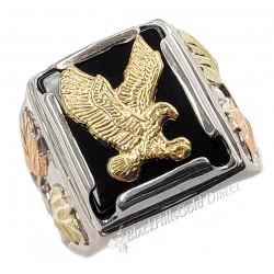 Black Hills Gold .925 Sterling Silver Onyx Eagle Mens Ring