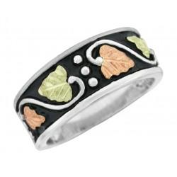 Antiqued Black Hills Gold on Sterling Silver Men's Band Ring