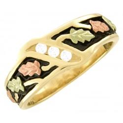 10K Black Hills Gold Ladies Wedding Band Ring with Three Diamonds