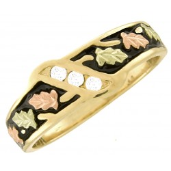 10K Black Hills Gold Men's Wedding Band Ring with Three Diamonds