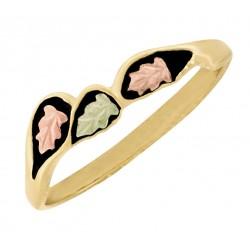 Lovely 10K Black Hills Gold Ladies Antiqued Ring w Leaves