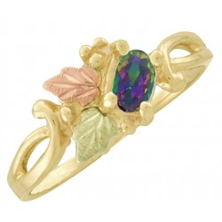 10K Black Hills Gold Ladies Ring with Oval Mystic Topaz