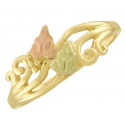 10K Black Hills Gold Ladies Ring with Two 10K Gold Leaves
