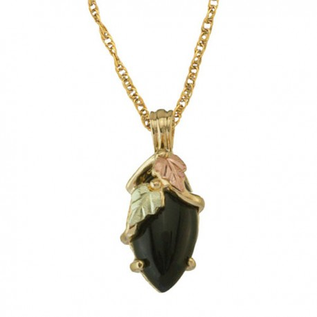 10K BLACK HILLS GOLD 12x6MM MARQUISE ONYX LADIES PENDANT NECKLACE