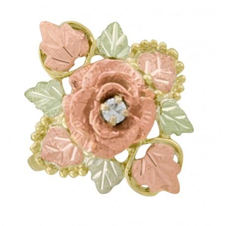 Beautiful 10K Black Hills Gold Ladies Rose Ring with Diamond