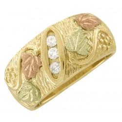 10K Black Hills Gold Ladies Band Ring with Three Diamonds