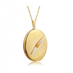 Mt. Rushmore Black Hills Gold-Filled Oval Locket with Two Leaves