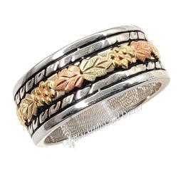 Black Hills Gold on Silver Wedding Ring