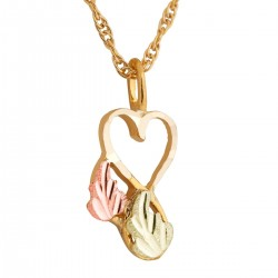 Small 10K Black Hills Gold Heart Pendant with Two Leaves