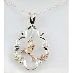 Black Hills Gold on Sterling Silver Pendant with 10K Gold Hummingbird