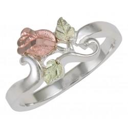 Coleman Tri-Color Black Hills Gold on Sterling Silver Rose Flower Ring