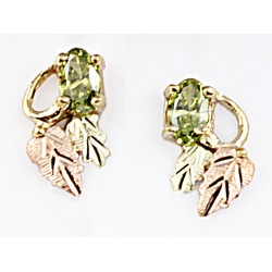 Small 10K Black Hills Gold Earrings with Peridot CZ