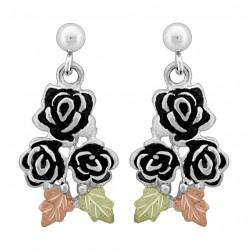 Black Hills Gold on Sterling Silver Roses Earrings