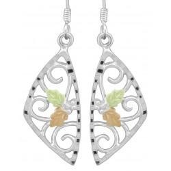 Black Hills Gold on Sterling Silver Dangle Earrings w Diamond Cut Edge