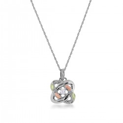 Black Hills Gold Sterling Silver LOVE KNOTS Pendant with Diamond