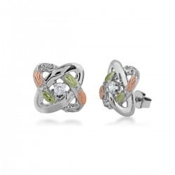 Black Hills Gold Sterling Silver LOVE KNOTS Earrings with Diamond
