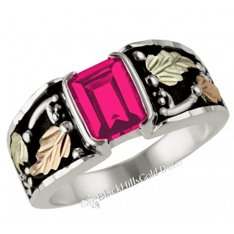 Black Hills Gold on Sterling Silver Men's Ring with Ruby
