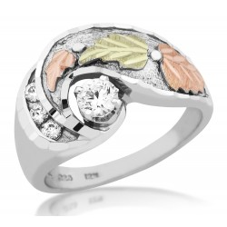 Mt Rushmore Black Hills Gold on Sterling Silver Ladies Ring with 4MM CZ