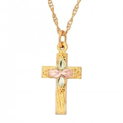 G LM602/18 Landstrom's® 10K Black Hills Gold Small Cross Pendant with Four Leaves