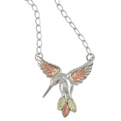 BLACK HILLS GOLD .925 STERLING SILVER LADIES HUMMINGBIRD NECKLACE