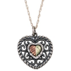 Black Hills Gold .925 Oxidized Sterling Silver Heart  Pendant Necklace