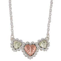 Black Hills Gold .925 Sterling Silver Hearts Pendant Necklace