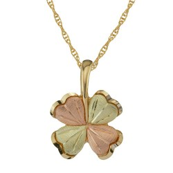 10K Black Hills Gold 4 Leaf Clover Pendant Necklace
