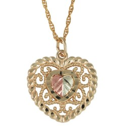 Black Hills Gold Double Heart Pendant With 12K Gold